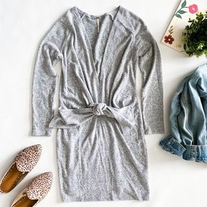 Free People Ginger Heather Tie Front Sweater Dress